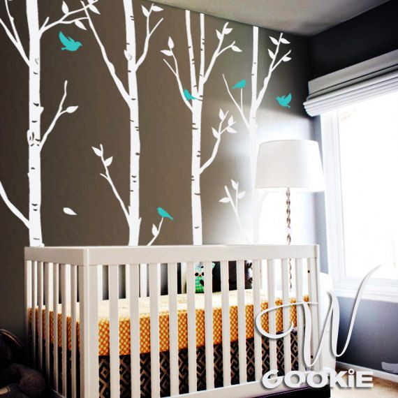 Tree Decals With Blue Birds | Birch Trees And Birds Nursery Tree Wall Decal  Sticker By Wcookie
