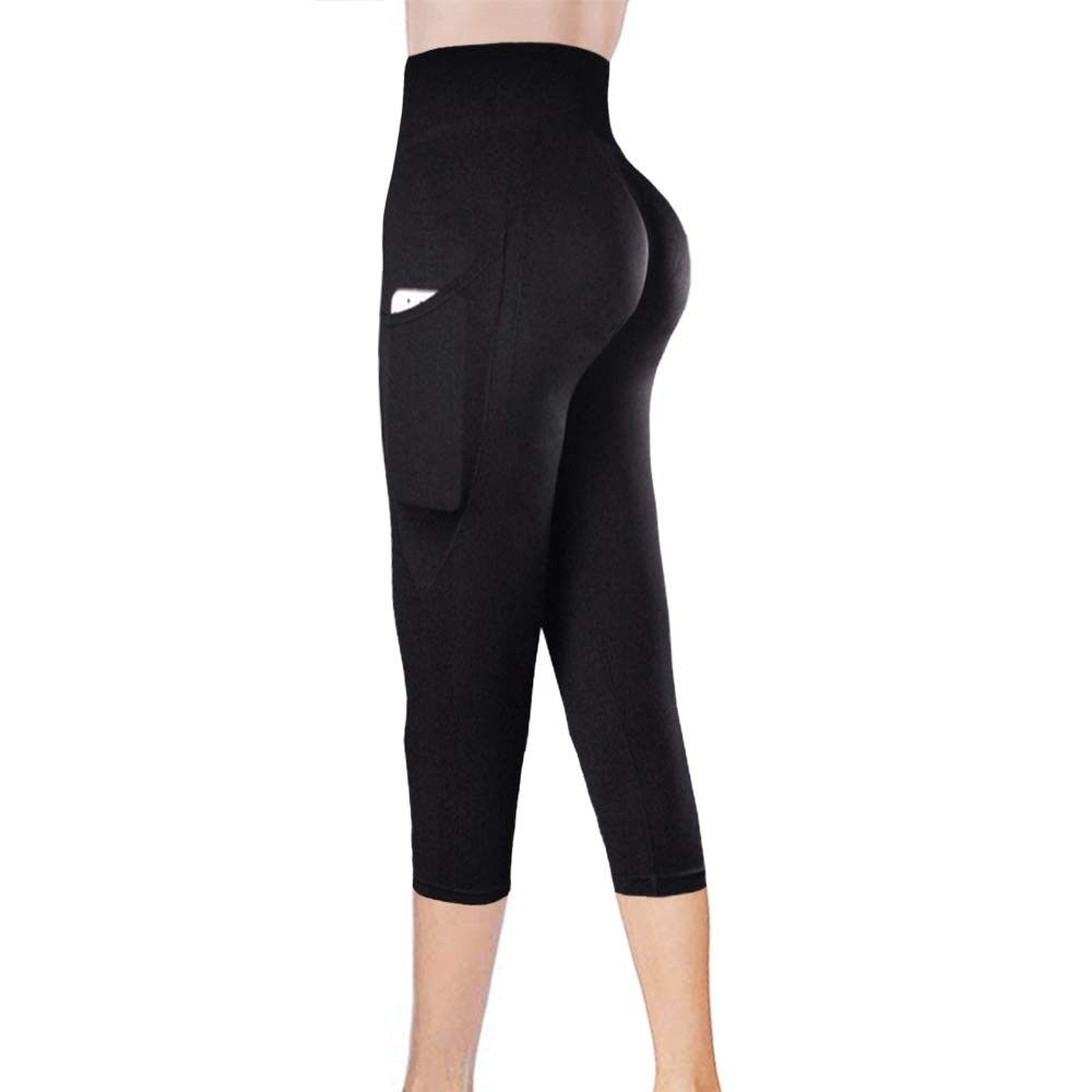 Pockets Yoga Leggings Pants Compression Shapewear High Waisted for Women-Capri and Ankle Length-Blac...