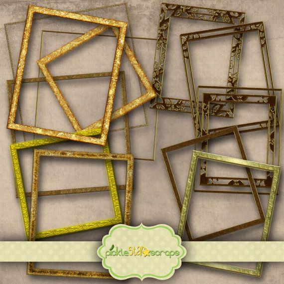 Golden Frames - Digital Scrapbooking Elements - Clip Art Printable - INSTANT DOWNLOAD