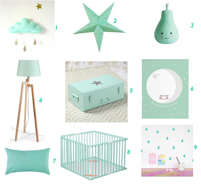 inspiration deco du mint pour la chambre de bebe