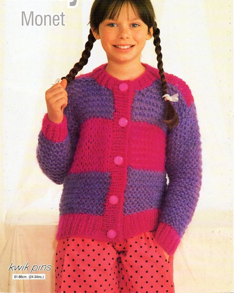 vintage girls chunky cardigan knitting pattern pdf childrens bulky jacket striped round neck 24-34 chunky bulky 12ply pdf instant download