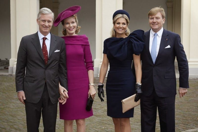 King Philippe and Queen Mathilde visited  King Willem-Alexander and Queen Maxima at palace Noordeinde in The Hague. 8 Nov 2013