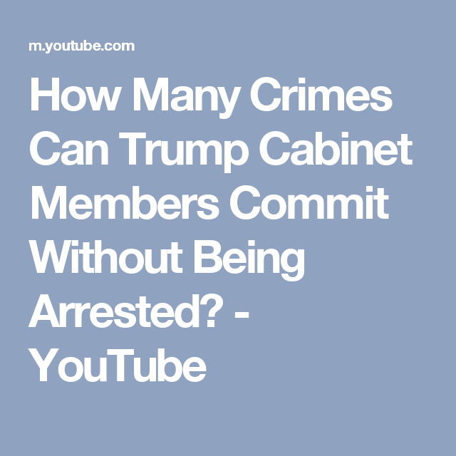 How Many Crimes Can Trump Cabinet Members Commit Without Being Arrested?    YouTube/ Maybe