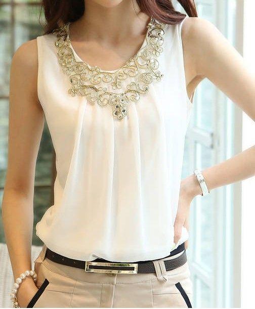 Verano Blusas sin mangas atractivo del chaleco arnés básica gasa de las  mujeres Blanco Negro Tops Camisas 359dc60bbf6e