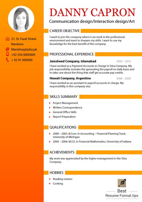 different resumes format