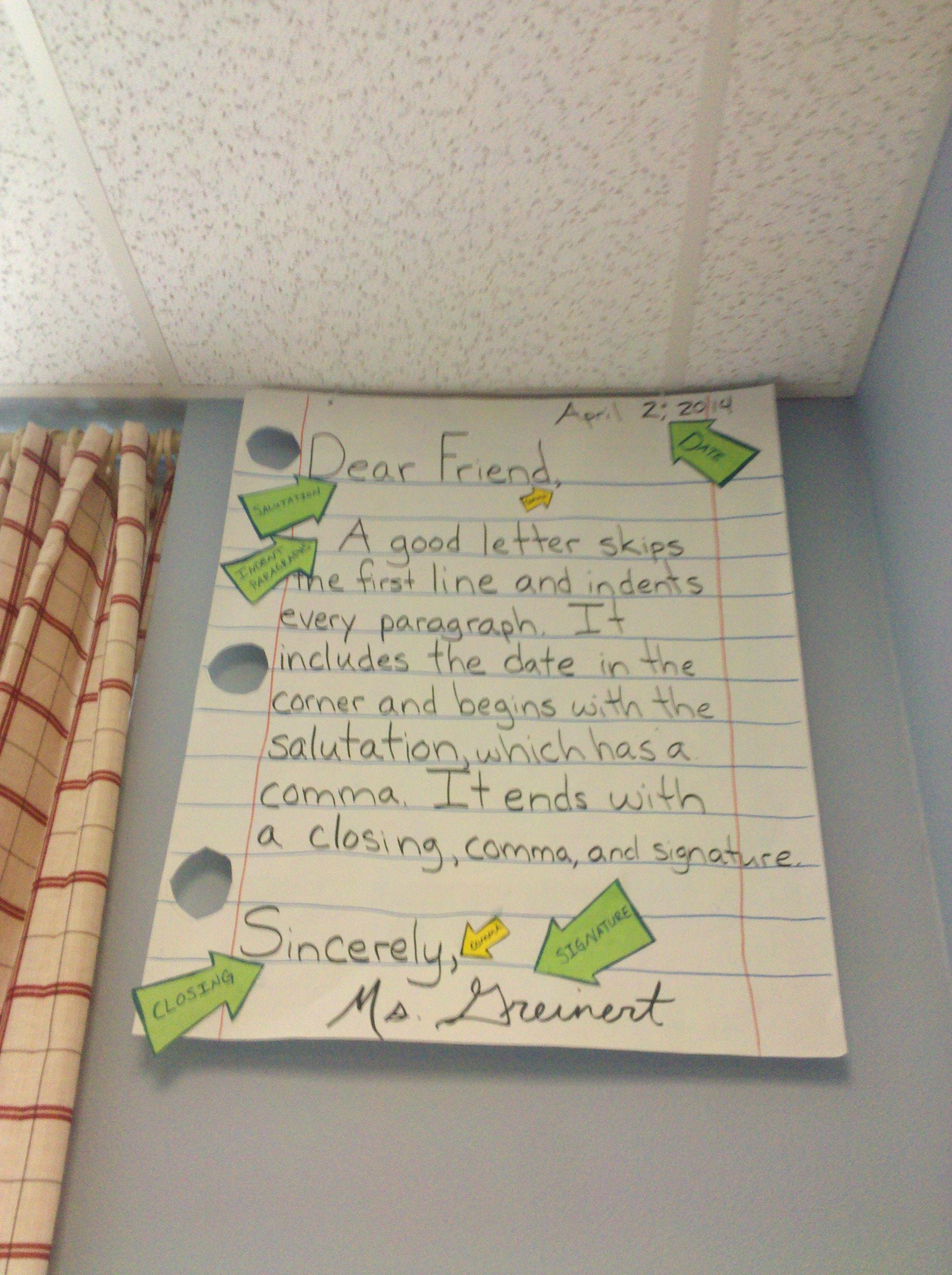Friendly Letter Anchor Chart | Journeys second grade