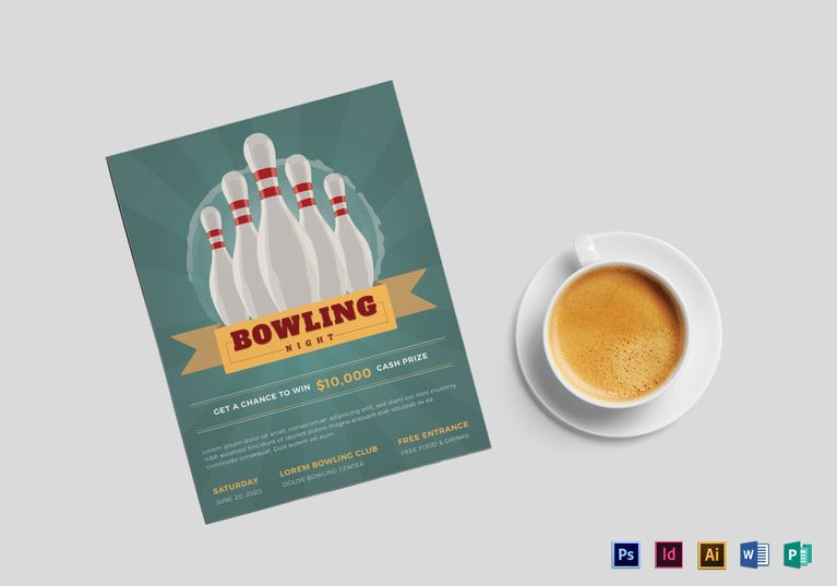 Super Bowling Flyer  Design Flyer Templates    Flyer
