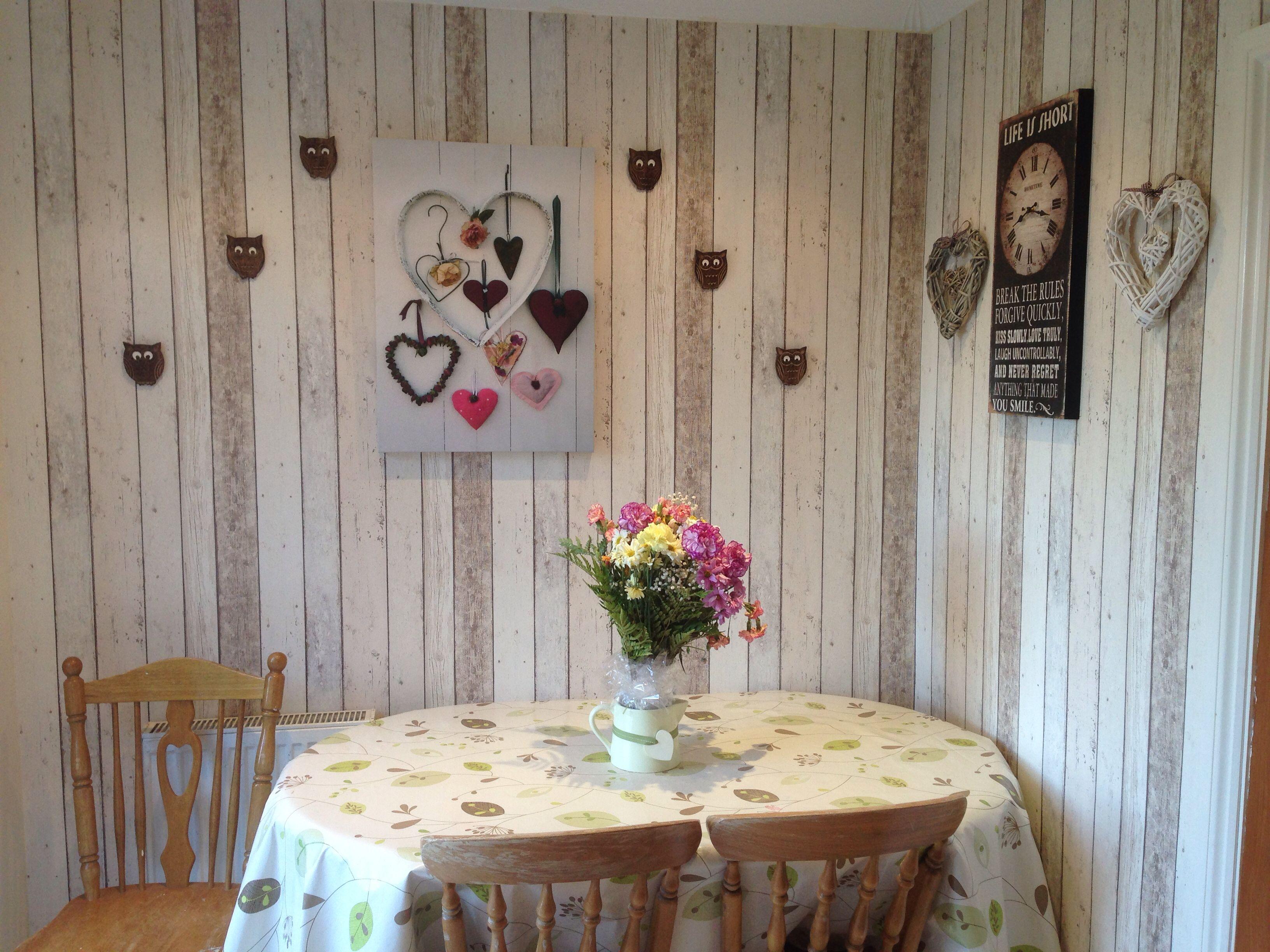 Wood Panel Effect Wallpaper Shabby Chic Kitchen Ideas