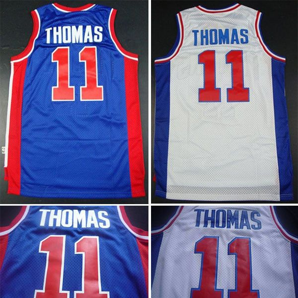 New Men/'s Detroit Pistons 11#  Isiah Thomas basketball jersey retro Mesh Blue