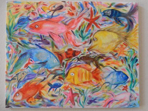 Painting-Fish-Fishes-Water-Aquarium-Ocean-Nature-Acrylic-Handmade-Canvas-16x20