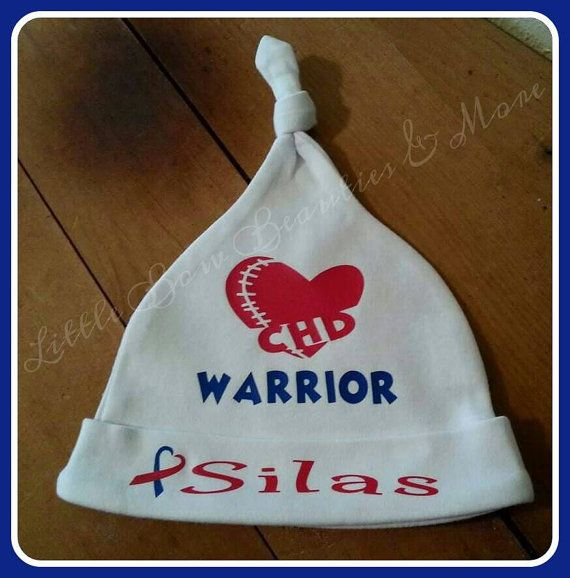 Check out this item in my Etsy shop https://www.etsy.com/listing/265261163/personalized-chd-warrior-infant-hat