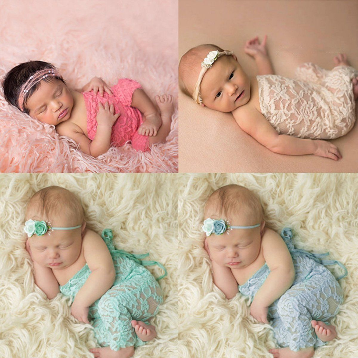 Baby Infant Girl Fashion Floral Lace Bodysuit Photograph Photo Prop Romper WE