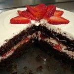 Chocolate, Strawberries and Cream Cake