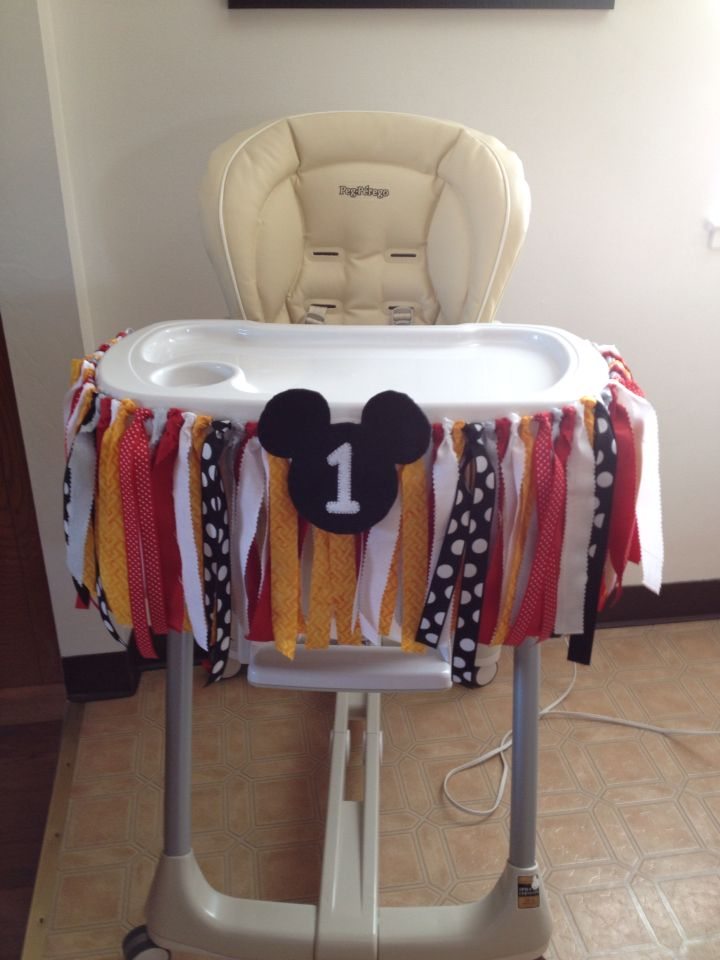 mickey mouse 1st birthday high chair decoration    parties      rh   pinterest com