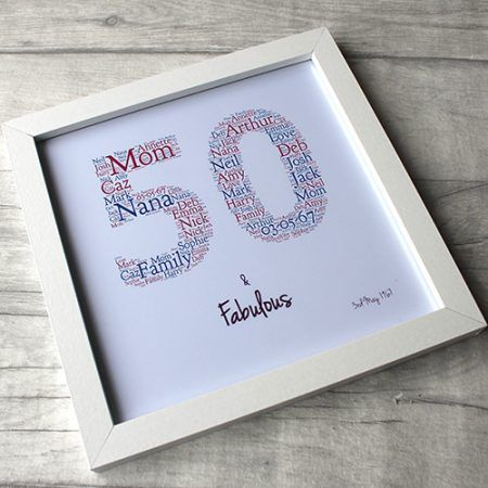 Personalised 50th Birthday Word Art Print And Frame 50th Birthday Gifts For Woman Birthday Words 50th Birthday Gifts