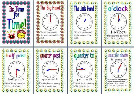 Instant Display Teaching Resources, Free Time for Time classroom display posters.