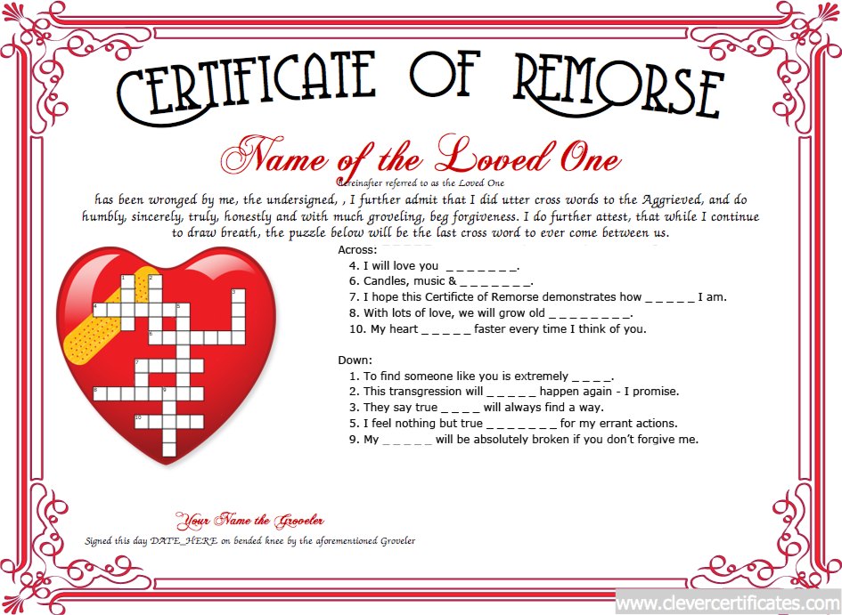 Remorse Certificate Free Certificate Templates You Can Add Text