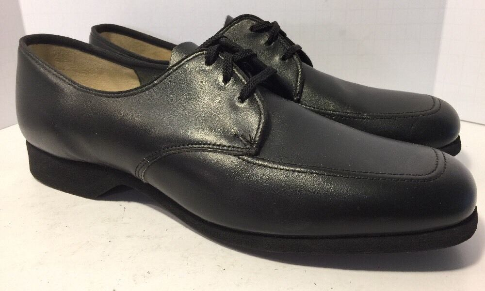 Vintage Deadstock 1950 60 Hush Puppies Fritzie Black Leather Oxfords 10 Med Hushpuppies Flatsoxfords Black Leather Oxfords Leather Oxfords Dress Shoes Men