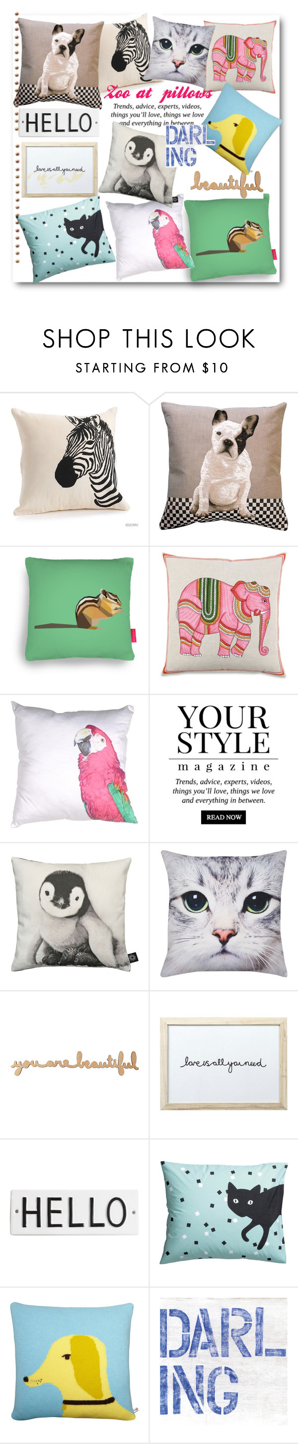 """""""Zoo at my pillows..."""" by gul07 ❤ liked on Polyvore featuring interior, interiors, interior design, home, home decor, interior decorating, Pillow Decor, Ohh Deer, John Robshaw and Pussycat"""