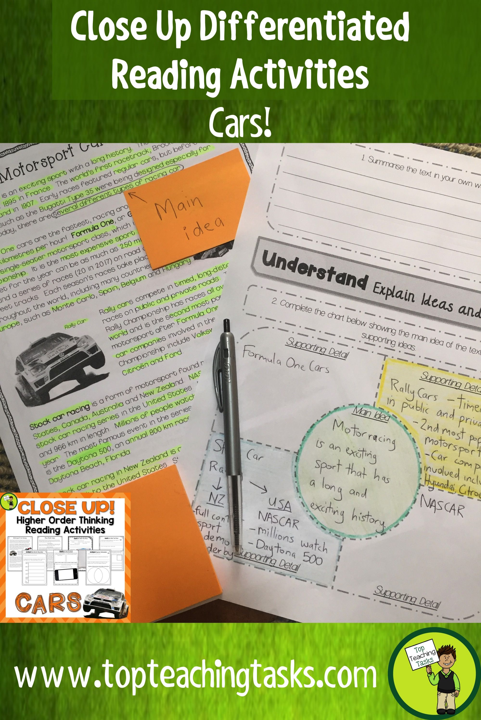 This Cars Differentiated Reading Comprehension Resource