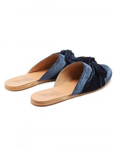 Pasoumi Bow velvet backless flats Ancient Greek Sandals CMys78hngU