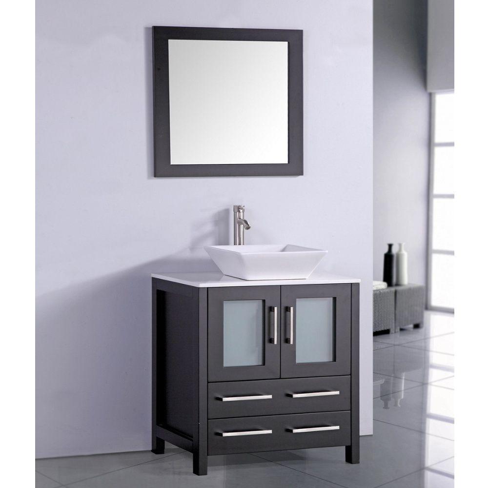 White Artificial Stone Top 30 Inch Vessel Sink Espresso Bathroom