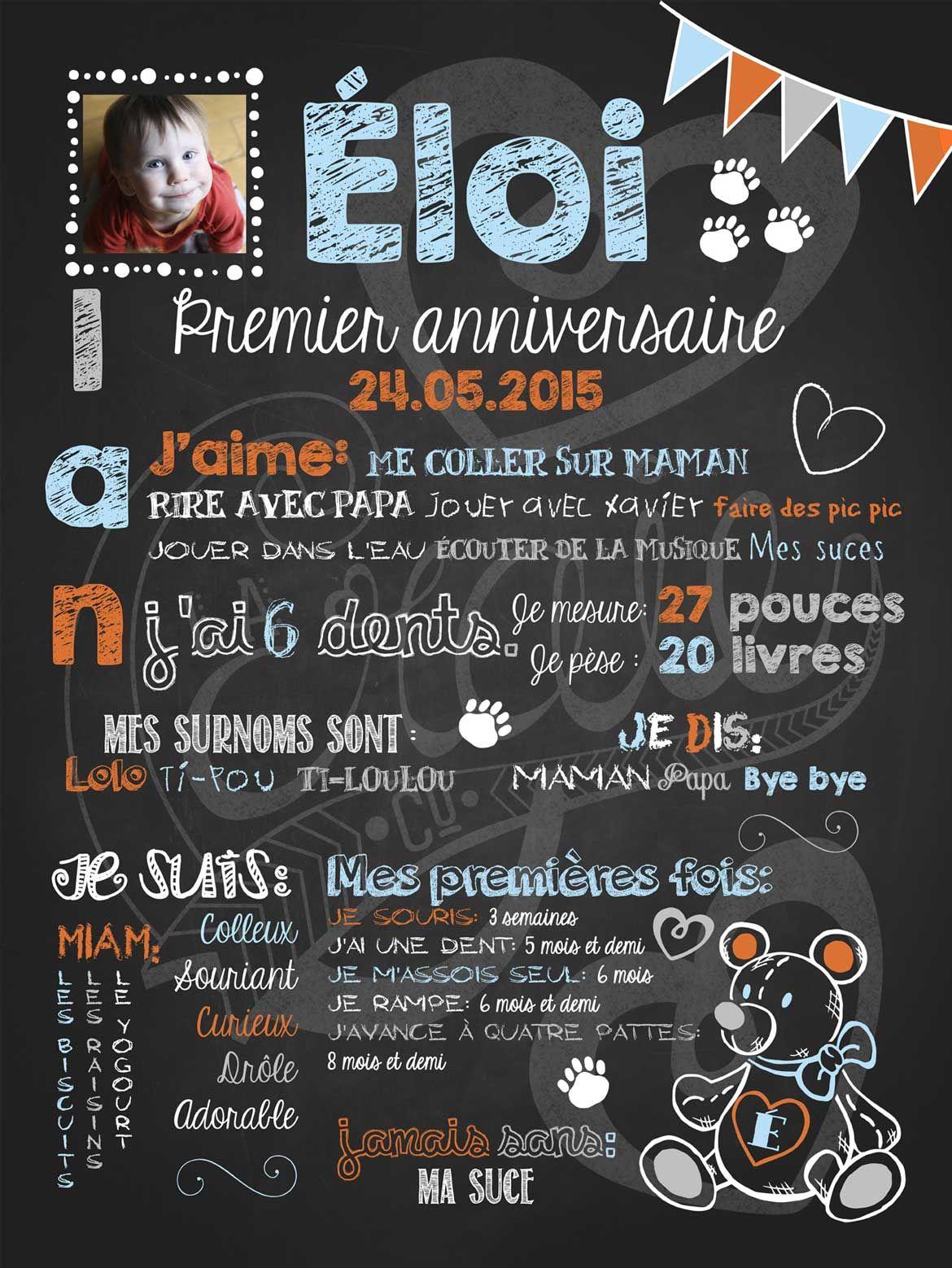 Affiche Personnalisée 1er Anniversaire Nounours Damour Bleu 30