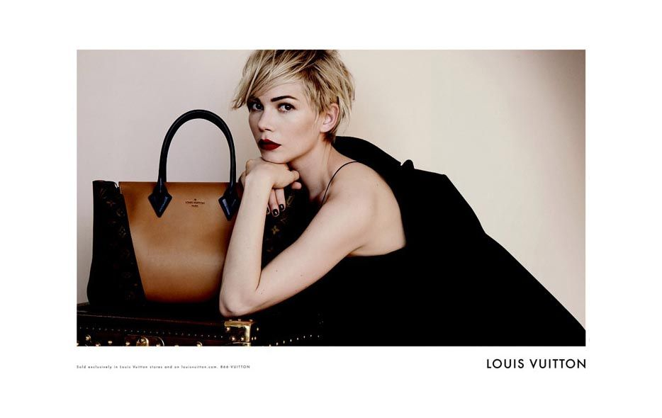Louis Vuitton Handbags advertisement starring regal looking Michelle Williams in new images by famed fashion photographer Peter Lindbergh. Michelle is the face of label's two new luxury bags.
