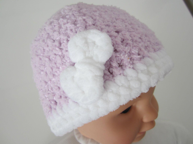 433ffc0ac8c Bonnet naissance fille laine douce avec noeud