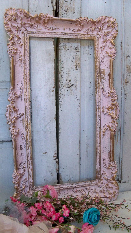 Cuadro grande marco shabby chic vintage rosa oro rom ntico - Cuadros shabby chic ...