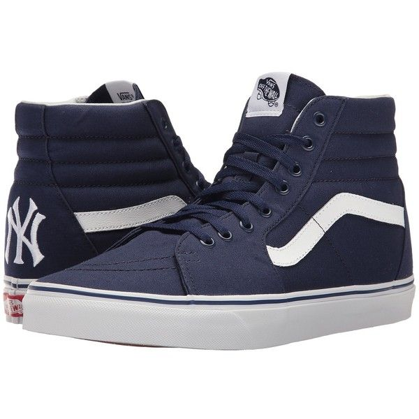 ed24ff282b8f47 Vans SK8-Hi ((MLB) New York Yankees Navy) Skate Shoes ( 75) ❤ liked on  Polyvore featuring shoes