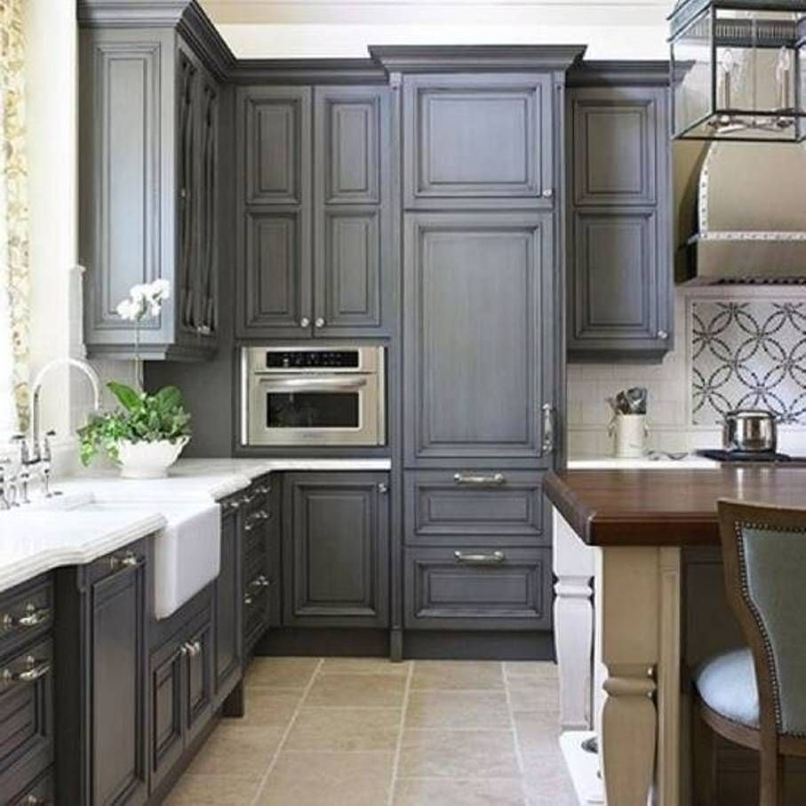 Grey Makes These Traditionalstyle Cabinets A Bit More Modern Love - Traditional grey kitchen cabinets