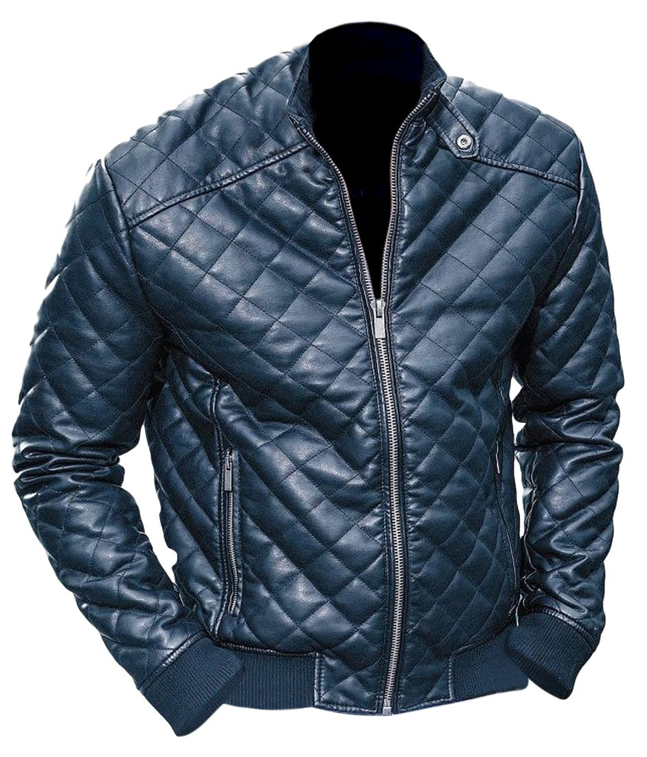 Leather Skin Men Black Diamond Quilted Leather Jacket | Moda ... : quilted leather jacket mens - Adamdwight.com