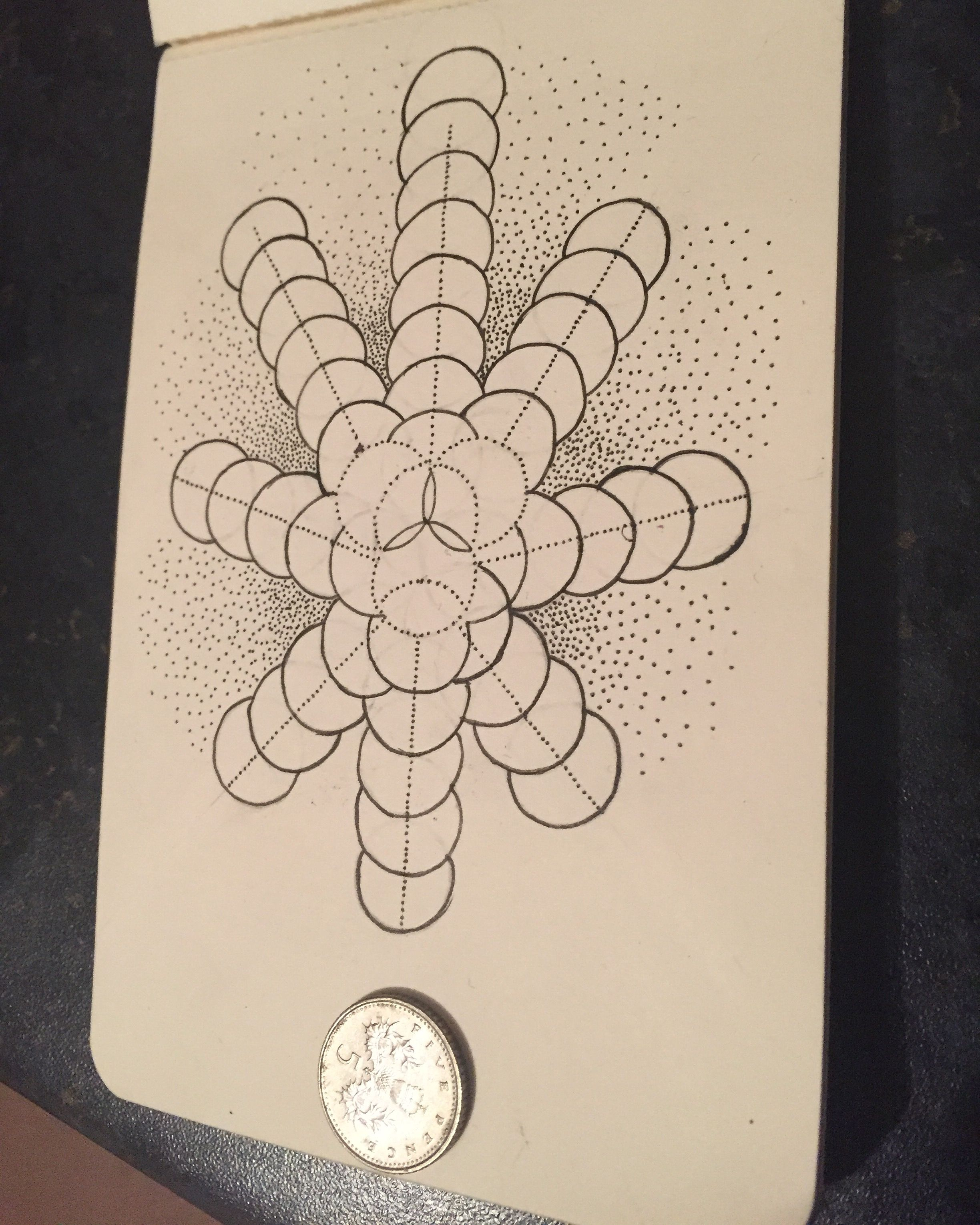 Geometry + dotwork done on my tiny sketch book