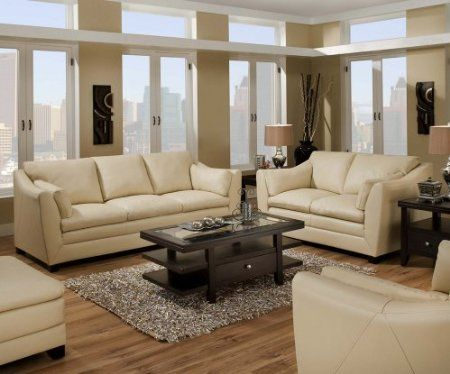 I like the style of this leather sofa loveseat set - Living room with cream leather sofa ...