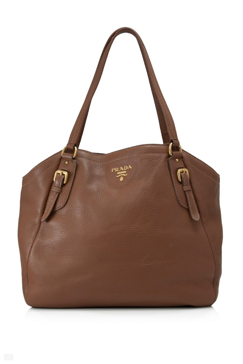 69ac89baa02c Pre-Owned Prada Vitello Daino Shoulder Bag Brown - PRADA