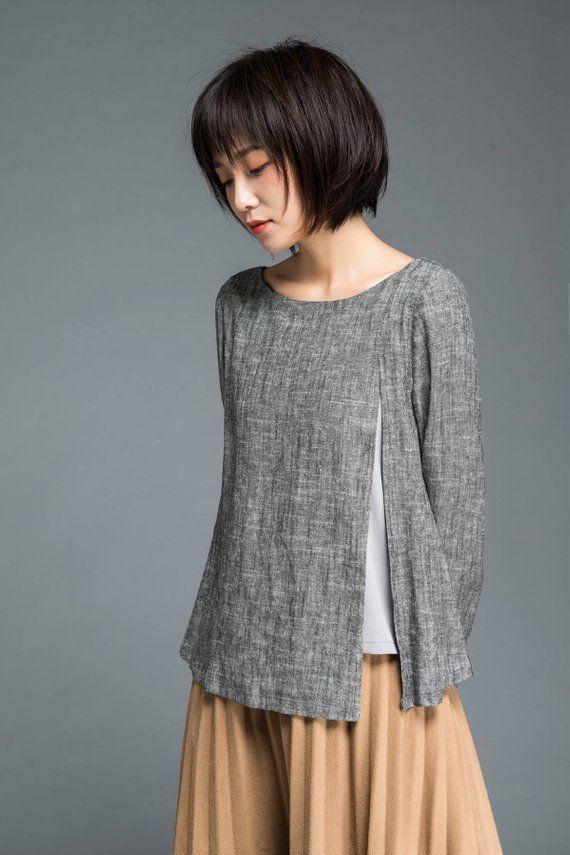 Gray blouse linen blouse loose linen blouse split top #Fitness women Linen blouse, Gray blouse, loos...