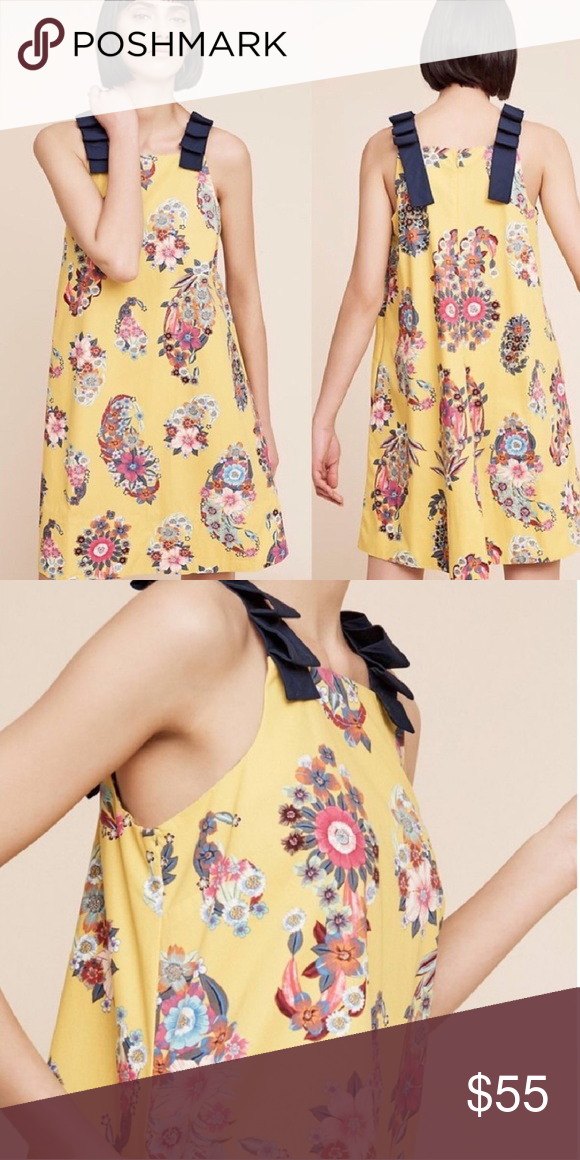 fab1e89b16797 Navy And Yellow Flower Dress Anthropologie | Gardening: Flower and ...