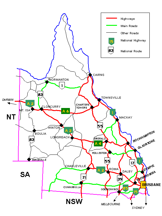 Queensland Road Map Maps of Australia Australasia Pinterest