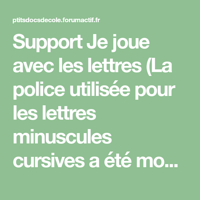 Je Joue Avec Les Lettres (cycle 1 Et 2)