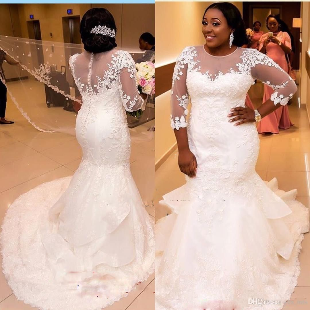 c10f7be957f African Nigerian Mermaid Wedding Dresses 2017 New Long Sleeves Lace  Appliques Illusion Plus Size Court Train Tiered Formal Bridal Gowns Mermaid  Wedding ...
