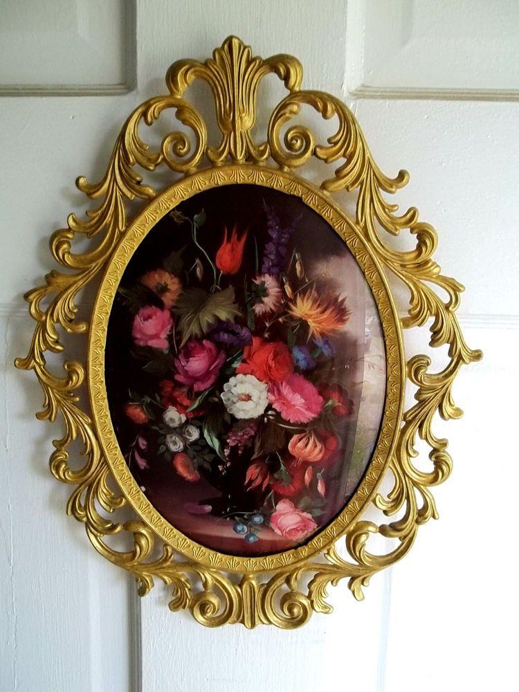 Vintage Ornate Victorian Style Oval Br Frame Convex Gl W Fl Print