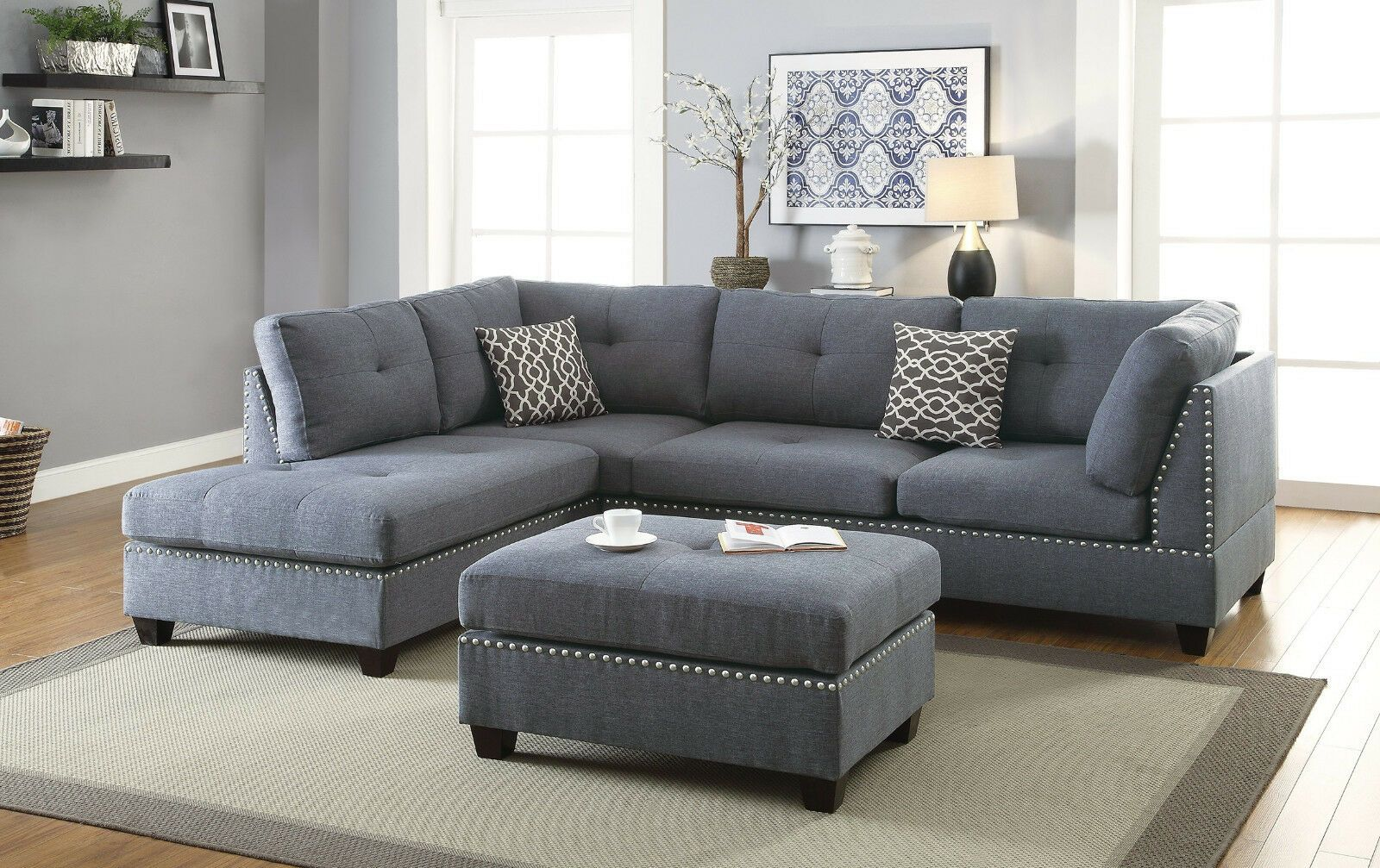 Living Room 3pcs Sectional Sofa Chaise Ottoman Blue Grey L Shape Sofa Furniture Grey S In 2020 Grey Sectional Sofa Gray Sectional Living Room Living Room Sofa Design