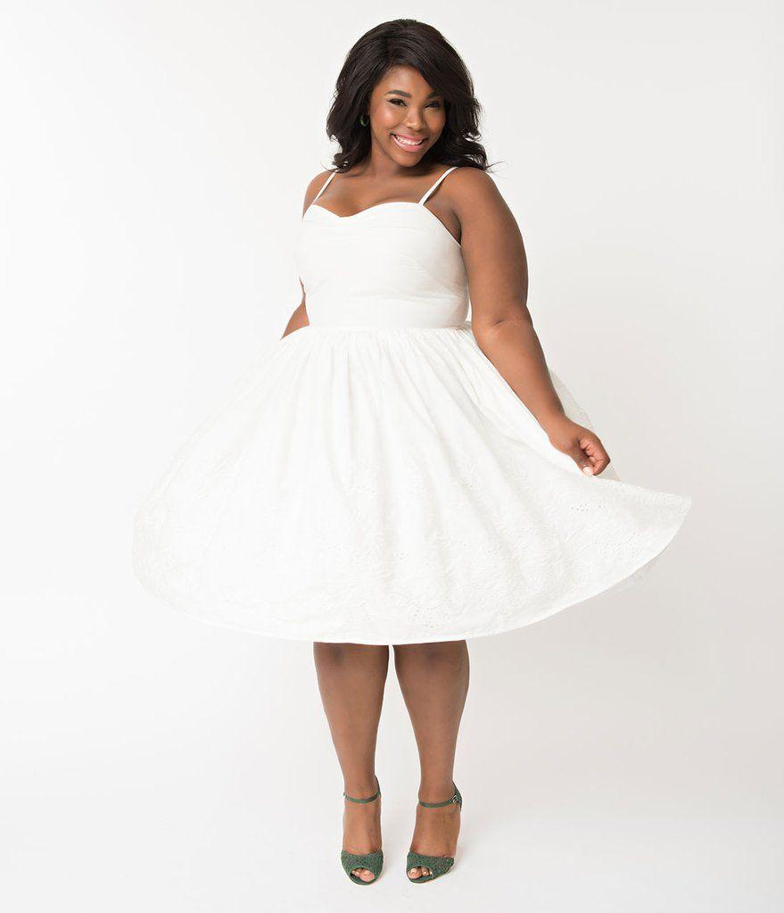 Unique Vintage Plus Size 1950s Style White Cotton Eyelet Darcy Swing Dress White Dresses For Women Dresses 1950s Fashion [ 1023 x 879 Pixel ]