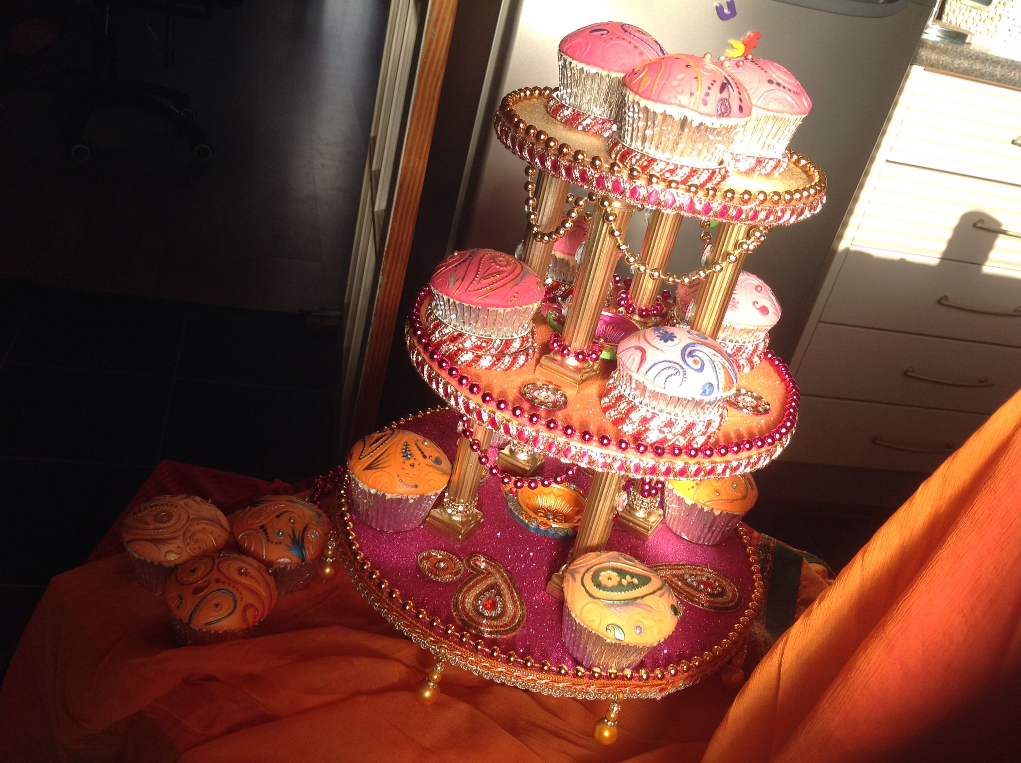 Mehndi Party Trays : Hand made mehndi cupcake stand three tiered which can hold