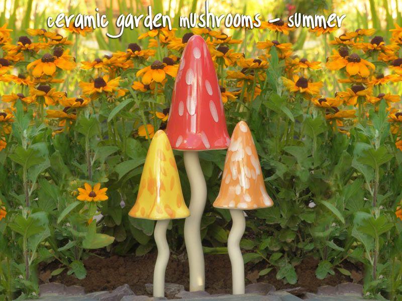 Ceramic Garden Mushrooms - Summer Fairy Garden Decor
