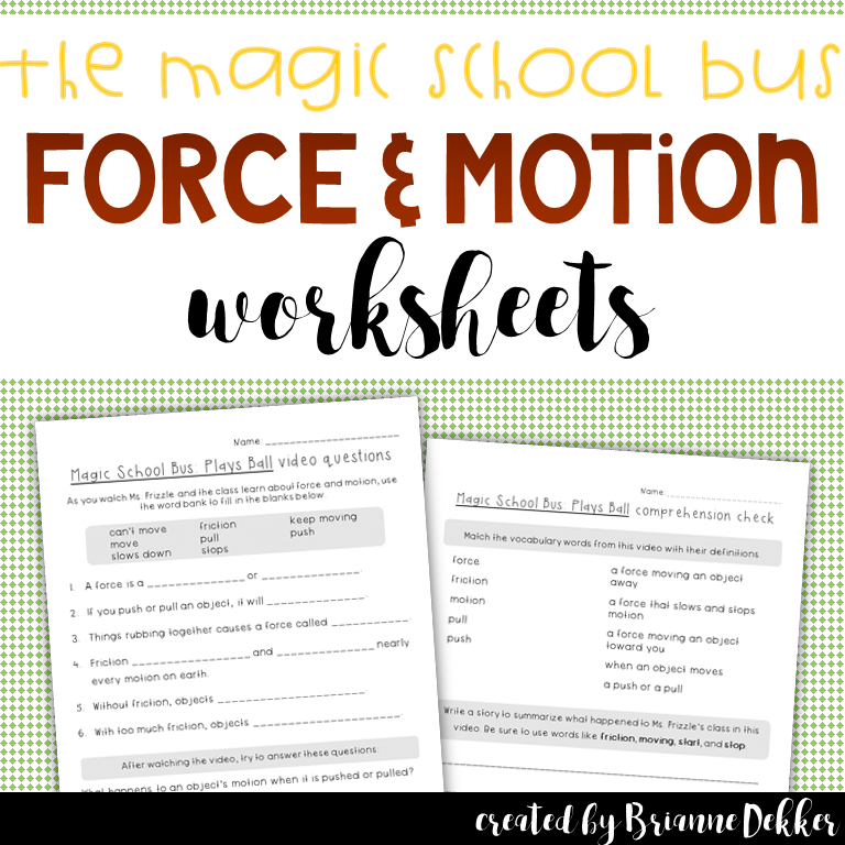 Magic School Bus Plays Ball Force And Motion Worksheets Magic