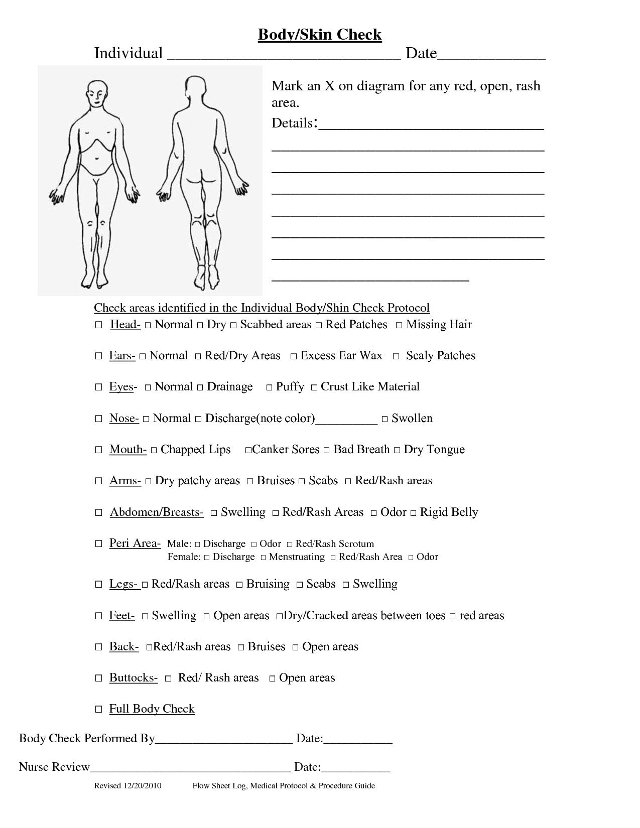 Body Check Sheet