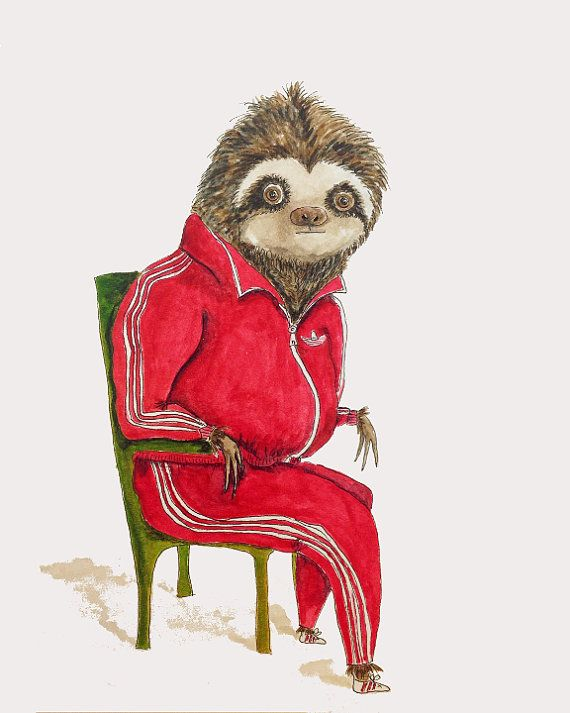 Sloth painting cute hipster sloth watercolor art animals in clothes art for man den nursery or library red adidas sloth 8x10 print
