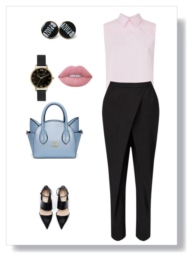 """""""Untitled #778"""" by sajairaq ❤ liked on Polyvore featuring Victoria, Victoria Beckham, Jigsaw, Lime Crime and Olivia Burton"""